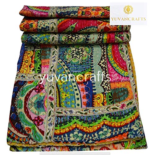 Yuvancrafts Patchwork Cotton Kantha Quilt - Indian Traditional Handmade Bedding Vintage Multi Color Quilt Blanket (Twin (60'x90'), Multi Patch 1)