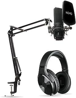حزمة معدات موفو بودكاست - ميكروفون مكثف XLR مع سماعات ستوديو ، فلتر بوب ، ذراع بوم ، حامل للصدمات - ذراع ميكروفون قابل للت...