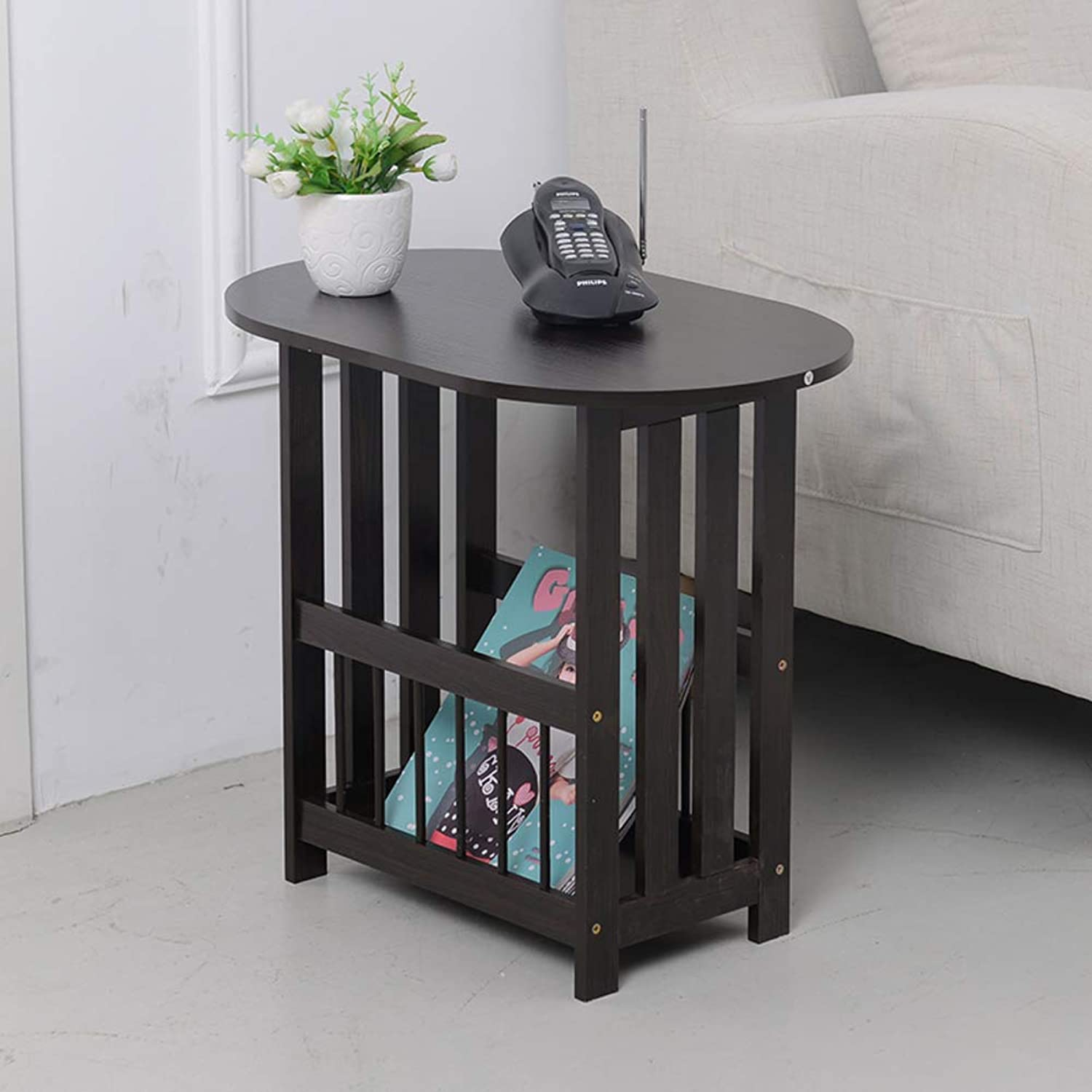 End Table with Storage Basket,Folding Side Table C Shaped Table Bedside Stand Coffee Table Portable Notebook Table Stand-B 56.5x49cm(22x19inch)