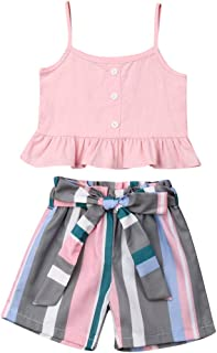 Toddler Baby Girl Floral Off The Shoulder Strap Top + Pleated Wide Leg Pants Summer Clothes Outfits Set
