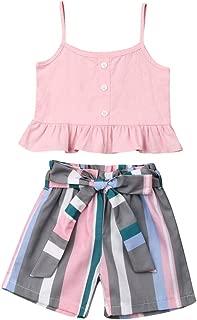 BOEBNOZCV Toddler Baby Girl Halter Denim Outfits Set Ruffled Strap Crop Tops+Short Pants with Bowknot Belt Summer Clothes Set