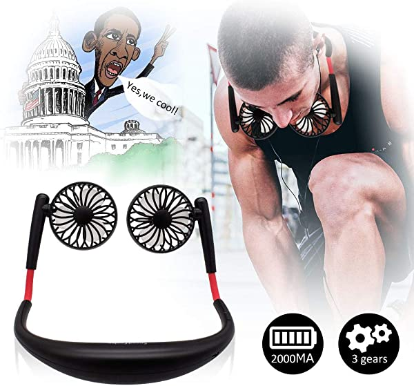 TOA Small Fan Portable Fans Portable Mini Portable Fan Hands Free Fan USB Charging Fan Neck Fan Easy To Adjust Direction Suitable For Jogging Cycling Outdoor Working Traveling Black