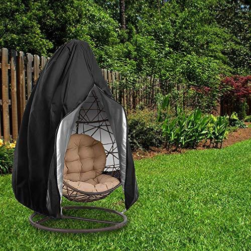 DAYOLY Housse de chaise d'extérieur imperméable résistante aux intempéries à suspendre pour fauteuil de jardin Noir