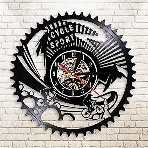 GODYS Reloj de Pared con Disco de Vinilo LED para Bicicleta MTB, Reloj de Pared Deportivo Vintage con Engranajes, Reloj de Pared con diseño de Vinilo Negro, Reloj Murale