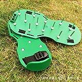 WDHDD 芝生のスパイク芝生の通風器の靴庭の釘園芸工具緩い土壌靴リッパーポータブル耐久性便利-緑