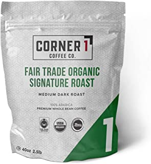 Corner One Coffee Fair Trade Organic Signature Roast Whole Bean, Organic, 2.5 Pound
