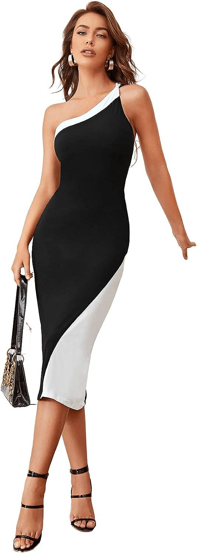 Romwe Women's Elegant One Shoulder Sleeveless Party Midi Pencil Bodycon Dress