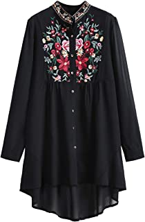 Women's Chiffon Embroidered Floral Button Down Long Sleeve Loose Blouse Top