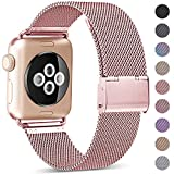 KOLEK Compatible for Apple Watch Band 38mm 40mm 42mm 44mm, Stainless Steel Mesh Loop Adjustable Wristband for iWatch Series 5 4 3 2 1 Women Men, Rosegold 42/44mm