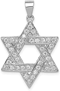 925 Sterling Silver Cubic Zirconia Cz Jewish Jewelry Star Of David Pendant Charm Necklace Religious Judaica Fine Jewelry Gifts For Women For Her