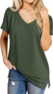 Florboom Womens Casual V Neck Short Sleeve Loose Plain Soft Cotton T Shirts Tee Tops