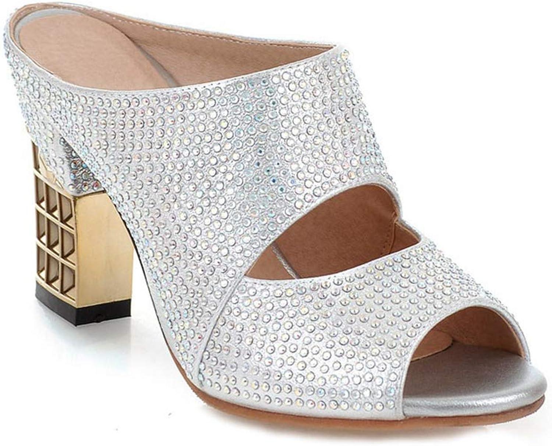 MIOKE Women's Glitter Rhinestone Heeled Sandals Fashion Open Toe Comfy Block High Heel Dress Wedge Sandal