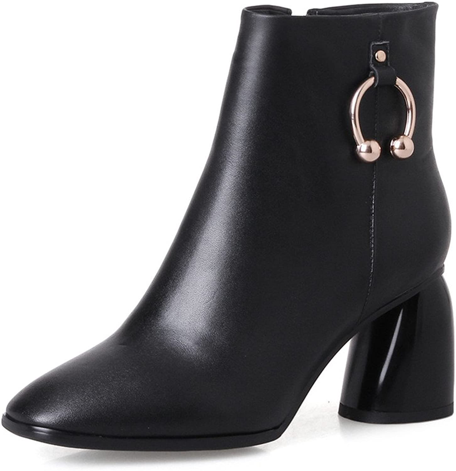 Nine Seven Genuine Leather Women's Square Toe Blcok Heel Sequin Designed Handmade Ankle Boots