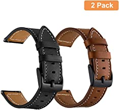Yeejok Vivoactive 3 Leather Watch Bands, 20mm Quick Release Genuine Leather Watch Straps with Black Metal Buckle Compatible for Garmin Vivoactive 3 Music/Forerunner 645/245 Smartwatch, 2 Pack