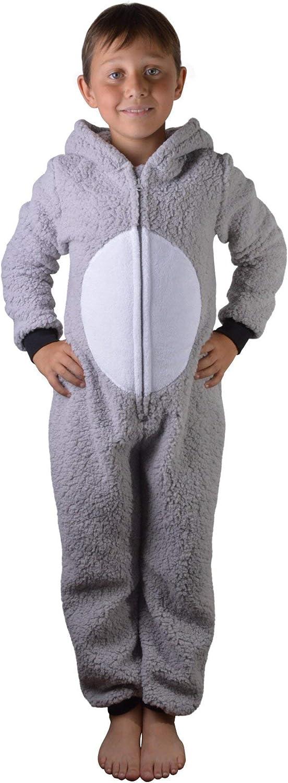 Dannii Matthews Super Soft Womens Kids Tweens Sherpa Fleece Hooded Koala All in One Onesie with 3D Ears,