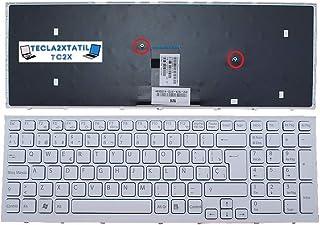 Teclado ESPAÑOL Compatible para PORTATIL Sony VAIO VPC-EB1J1E Blanco con Marco con Ñ y Ç Ver Foto