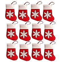 Prodotto di alta qualità. Decorazioni da tavola a forma di calza rossa di Babbo Natale. Set di 12 calze diBabbo Natale incluse. Si può inserire al loro interno posate o piccoli doni. Dimensioni: circa 8 cm x 13 cm.
