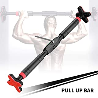 Pull Up/Chin Up Bar for Doorway No Screws, Adjustable Door Frame Pull up Bar Home Gym Exercise Workout Equipment Horizontal Bar with Level Meter, Fit 24″ to 40″ Door Frame, up to 440LBS