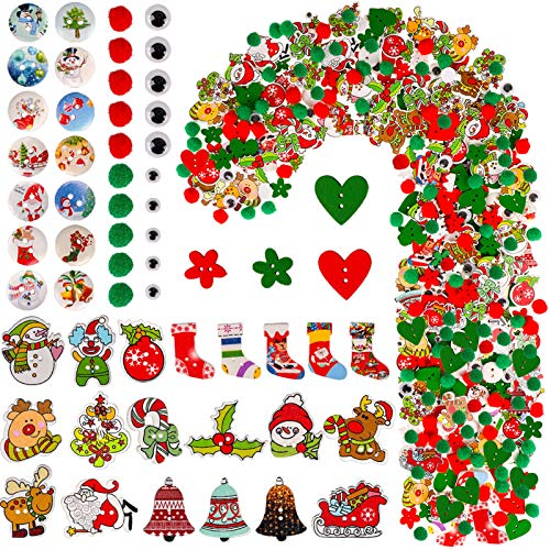 Konsait Christmas Craft Embellishments, Assorted Wooden Buttons Christmas Pom Pom Balls Wiggly Eyes Sewing Crafts Ornaments Snowflake Christmas Tree for Christmas Decoration Accessories Scrapbooking