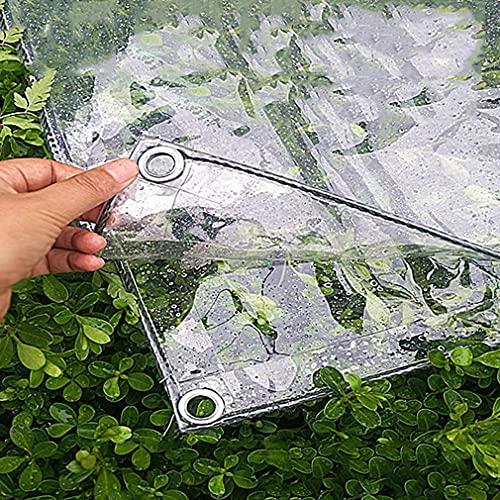 Lona Impermeable Resistente, Transparente de PVC a Prueba de Lluvia, hidratante, Resistente al desgarro, Ojales de Metal, anticorrosión, para Patio al Aire Libre, Lona con Ojales, (0,3 mm / 400 g /