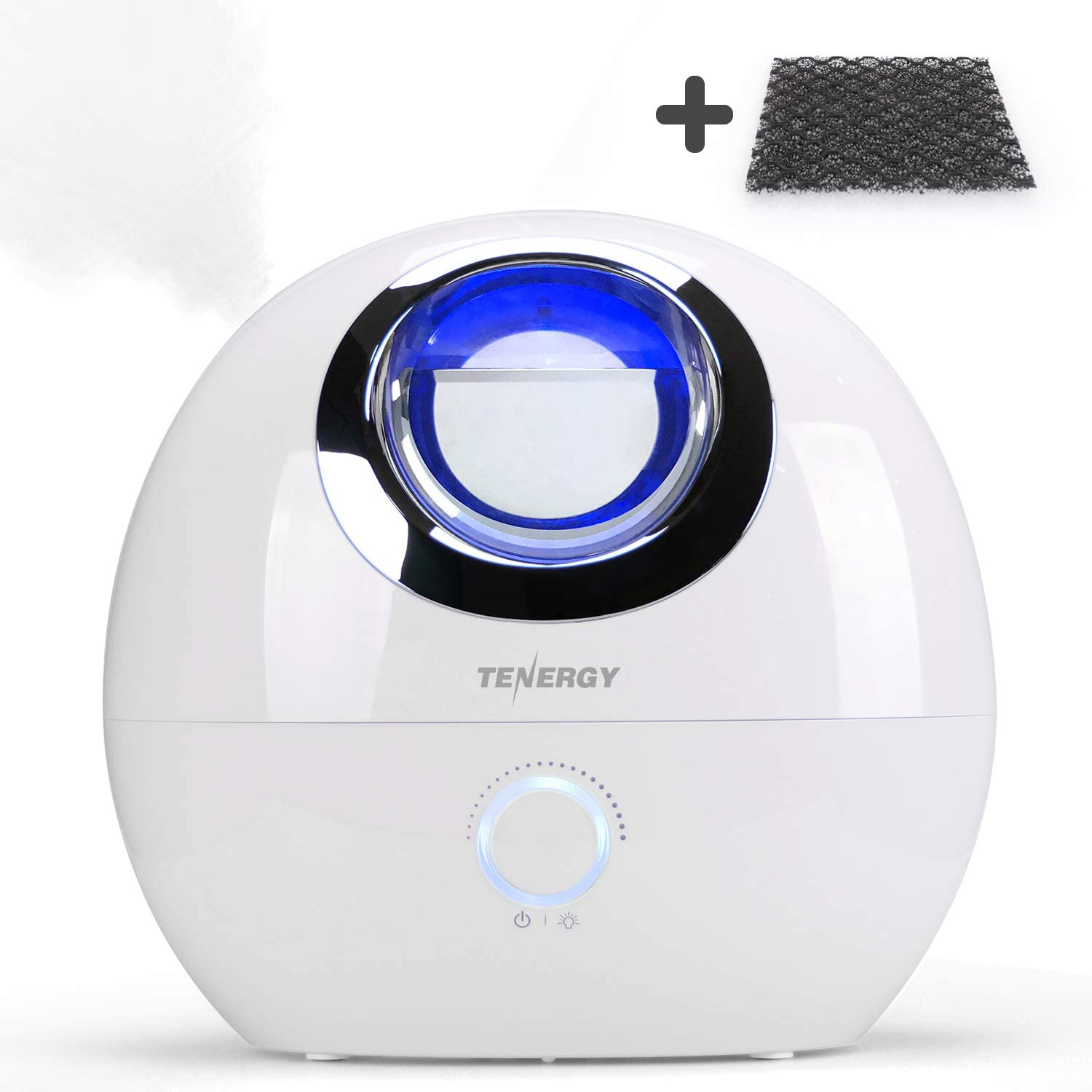 Tenergy Pluvi Ultrasonic Cool Mist Humidifier w  Auto Shut-Off Predections, Essential Oil Diffuser Humidifier w LED Night Light, Quiet Air Humidifier for Bedroom Office Living Room, 4L w  Bonus Filter