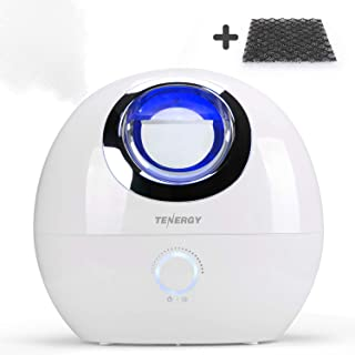 Tenergy Pluvi Ultrasonic Cool Mist Humidifier w/ Auto Shut-Off Protections, Essential Oil Diffuser Humidifier w/LED Night Light, Quiet Air Humidifier for Bedroom/Office/Living Room, 4L w/ Bonus Filter