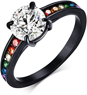 Dreamy Black Main Gem Rainbow Ring - Gay & Lesbian Pride Ring (Great as Gay Gift or Wedding Marriage or Engagement band)