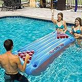 Haooyeah nflable Colchón de Aire Cama Cerveza Pong Juego Mesa de Billar Fiesta Piscina Agua Flotante Agua Potable Inflable Cerveza Pong Mesa
