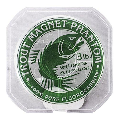 Trout Magnet Phantom 100% Fluorocarbon Fishing Leader Line, 50M (2lb, 3lb, 4lb Test), 3lb, 6X Tippet