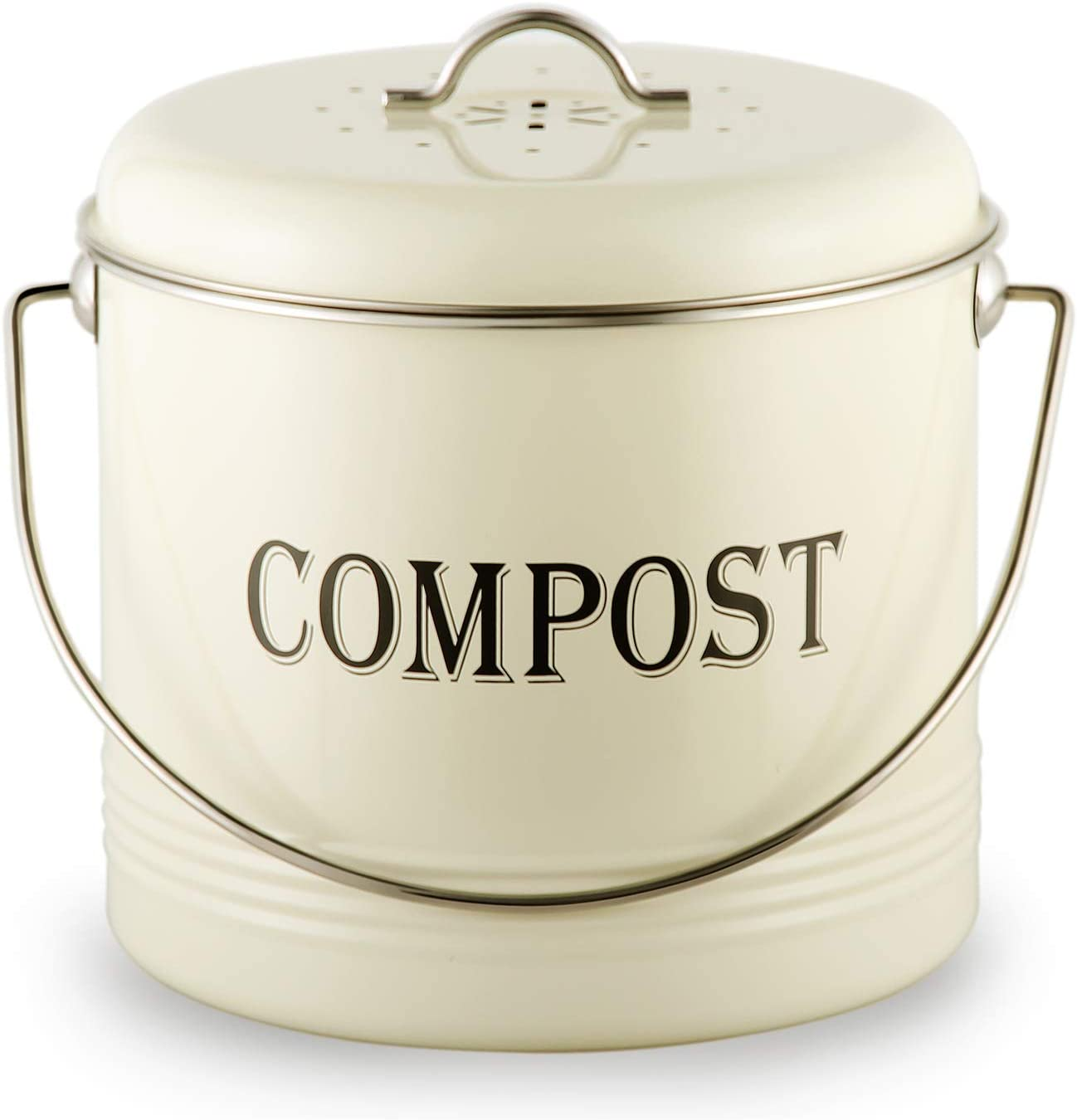 Amazon Com 1 3 Gal Compost Bin For Kitchen Countertop With 7 Bonus Charcoal Filters Vintage Indoor Scraps Compost Bucket With Lid Flies Odor Proof Compost Container Kitchen Pail Recycling Caddy Cream Garden