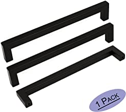1Pack Goldenwarm Black Square Bar Cabinet Pull Drawer Handle Stainless Steel Modern Hardware for Kitchen and Bathroom Cabinets Cupboard,Center to Center 6-1/4in(160mm)