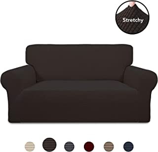 PureFit Stretch Loveseat Sofa Slipcover – Spandex Jacquard Non Slip Soft Couch Sofa Cover, Washable Furniture Protector with Non Skid Foam and Elastic Bottom for Kids (Loveseat, Chocolate)