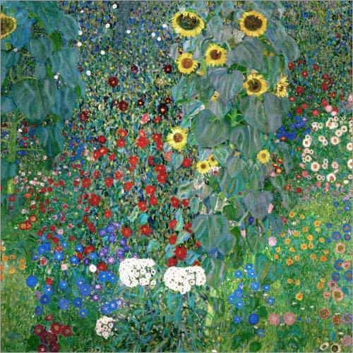 Posterlounge Acrylglasbild 50 x 50 cm: Bauerngarten mit Sonnenblumen von Gustav Klimt - Wandbild, Acryl Glasbild, Druck auf Acryl Glas Bild