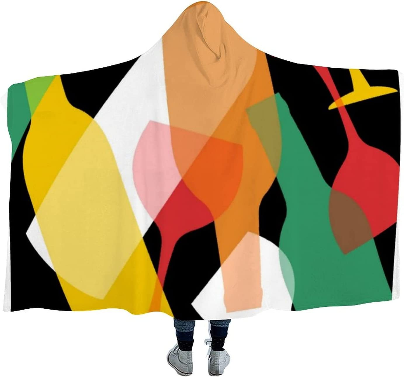 Modern Pattern Inventory cleanup selling sale of Wine Wearable Max 70% OFF Microfiber Hooded Throw Blanket