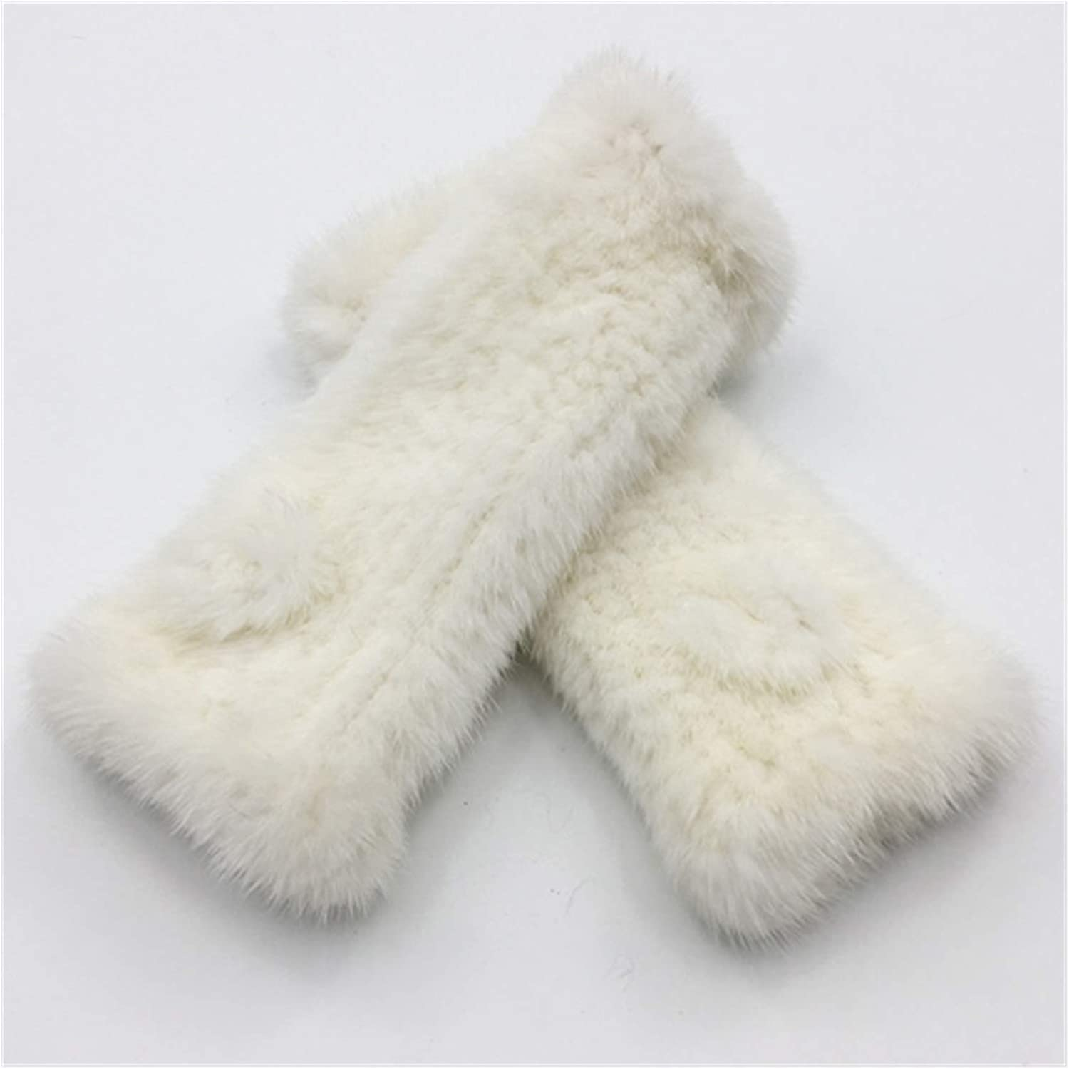 GUYANMAY Lace Gloves Winter Women Fingerless Gloves Women Fashion Elasticity Genuine Knitted Mittens (Color : White)