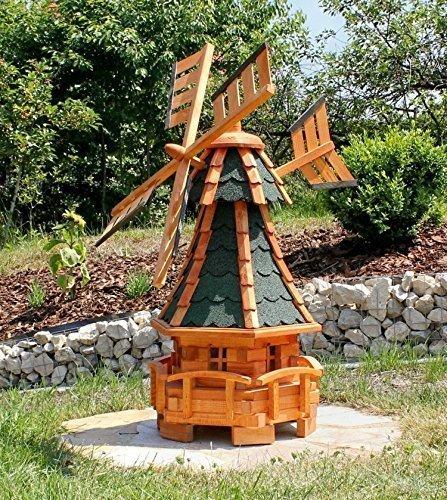 Gartenwindmühle mit Solarbeleuchtung grün Typ 11
