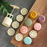 PIXRIY Mooncake Mold with 6 Stamps,Mid-Autumn Festival Hand-Pressure Flower Moon Cake Mould 50g DIY Decoration Mooncake Press Molds