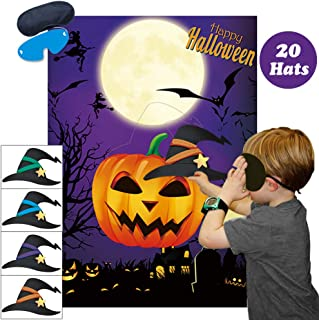 Pin The Witches Hat On The Pumpkin Party Games Large Halloween Pumpkin Games Poster for Kids Pumpkin Witches Hat Halloween Party Decorations Halloween Party Games Supplies - 20 Hats