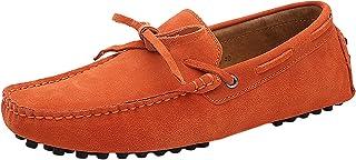 Jamron Hommes Doux Daim Chaussures de Conduite Fait Main Mocassin Chaussons Loafers Grande Taille