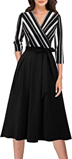VFSHOW Womens Vintage Pleated Pockets Work Business Casual Skater A-Line Dress