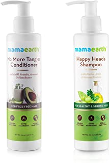 Mamaearth Natural Shampoo(200 ml) & Conditioner (200 ml) with Biotin, Protien, Bhringraj, Amla for Hair fall and Shiny Hair, Sulphate and SLES Free