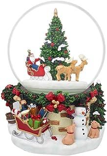BestPysanky Santa by Christmas Tree Rotating Musical Water Globe
