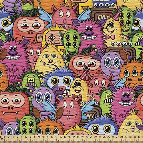 ABAKUHAUS Extraterrestre Tela por Metro, Carnaval De Los Animales Diseño, Decorativa para Tapicería y Textiles del Hogar, 1M (148x100cm), Multicolor