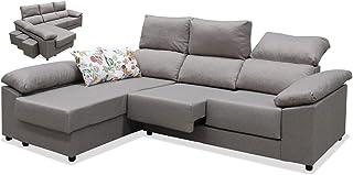 Mueble Sofa Chaise Longue 3 Plazas, Subida A Domicilio, Color Gris, 260 cms, ref-27