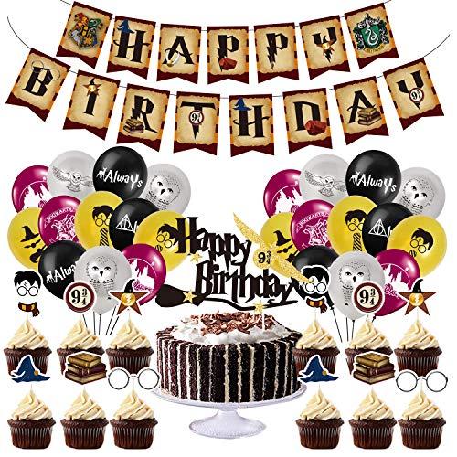 BlinBlin Juego de suministros de fiesta de cumpleaños de Harry Potter, pancarta de feliz cumpleaños, globos, decoración de tartas, decoraciones de cupcakes - HP Theme Party Decoraciones