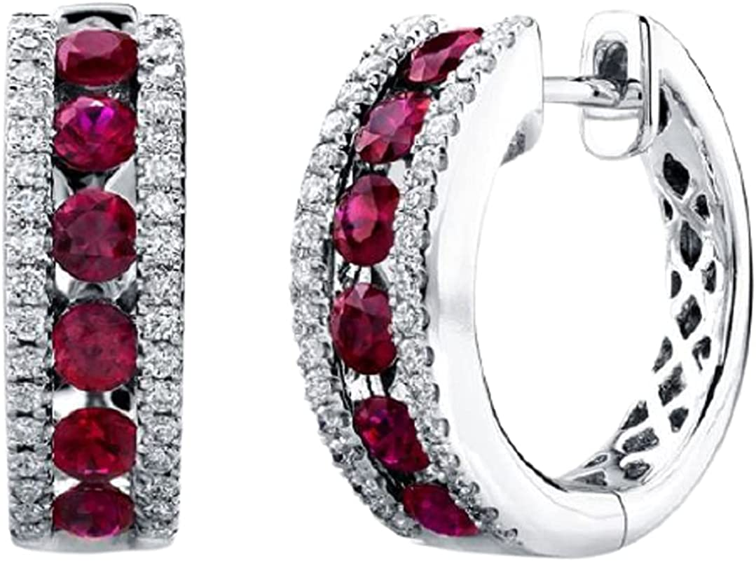 1 CT Created Red Ruby Cubic Hoop Row Three Save money Zirconia Max 47% OFF Earrings