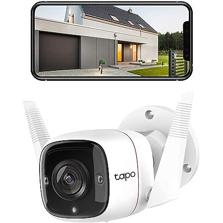 TP-Link Tapo Caméra Surveillance WiFi Extérieur Caméra IP haute résolution 3MP, étanche IP66, Vision nocturne avancée jusqu'à 30 m, détection de mouvement et alarme sonore(TAPO C310)