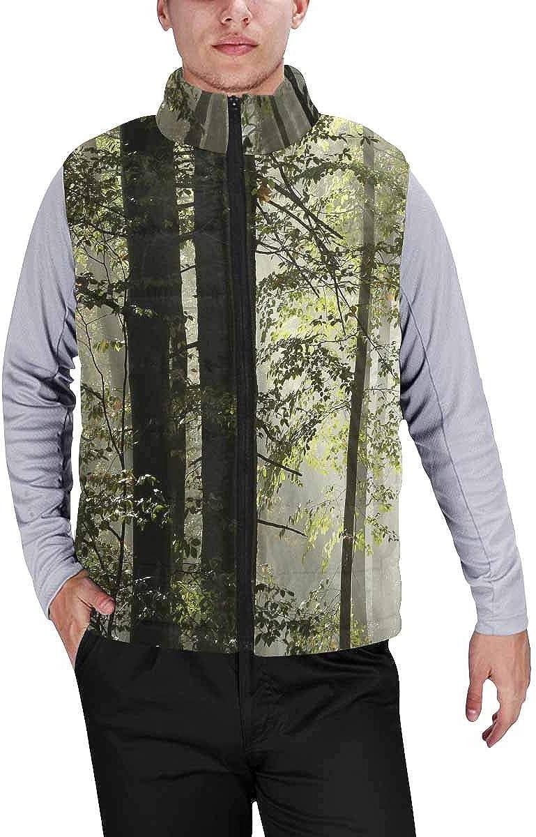 InterestPrint Men's Winter Full-Zip Outwear Padded Vest Coats Football Pitch
