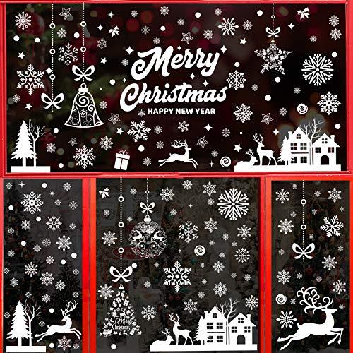 9 Hojas Pegatinas Navidad Vinilos Stickers Navideños Decorativos Ventanas Escaparates Cristal Decoración PVC sin Adhesivo