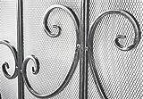Kobolo Kaminschutzgitter Funkenschutz aus Metall schwarz Silber gebürstet 85 cm hoch - 3